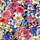 Watercolor seamless background, Vintage flowers bouquet, willow Stock Photo
