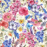 Watercolor seamless background, Vintage flowers bouquet, willow Royalty Free Stock Images