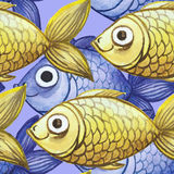 Watercolor seamless background, yellow and purple fish, large pattern. Watercolor pattern seamless background of large-sized fish for decoration, child`s drawing Stock Photo