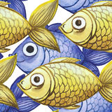 Watercolor seamless background, yellow and purple fish, large pattern Royalty Free Stock Photography