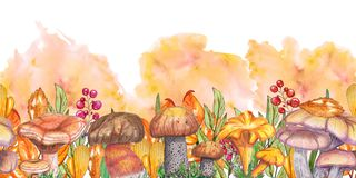 Watercolor seamless banner with mushrooms on white background vector illustration