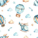 Watercolor seamless boho pattern for boys with helicopter, airship, balloons, clouds on white background