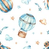 Watercolor seamless boho pattern for boys with hot air balloons, stars, clouds on a white background