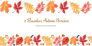 2 watercolor seamless border with autumn leaves, berries, nuts, acorns. Color texture for borders, frames, design of cards, citations stock illustration