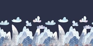 Watercolor seamless border with cartoon mountains and clouds. stock illustration
