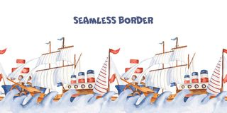 Watercolor seamless border with childrens cartoon cute ships and steamers. stock photos