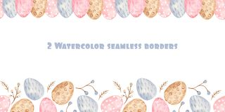 Watercolor seamless border with colorful Easter eggs and willow. royalty free illustration