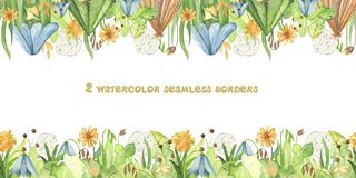 Watercolor seamless border with cute cartoon insects and meadow flowers. stock illustration
