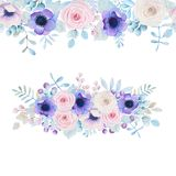 Watercolor set with roses and anemones Royalty Free Stock Image