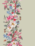 Watercolor Seamless Border with Pink Flowers and Royalty Free Stock Images