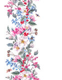 Watercolor Seamless Border with Pink Flowers and Stock Image