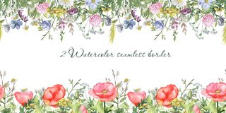 Watercolor seamless border with wildflowers. Texture for wallpaper, packaging, fabric, wedding design, prints vector illustration