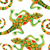 Watercolor seamless cactus pattern with lizards Stock Photography
