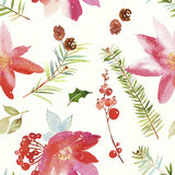 Watercolor seamless Christmas pattern Royalty Free Stock Photography