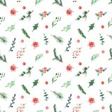 Watercolor seamless Christmas pattern with holly, berries, branches of spruce, pine, holly flower, leaves on a white background