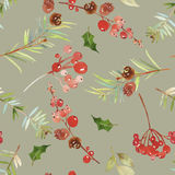 Watercolor seamless Christmas pattern Royalty Free Stock Images