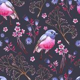 Seamless crimson blue texture. Dark background. Natural cliparts for wedding design, artistic creation. stock illustration