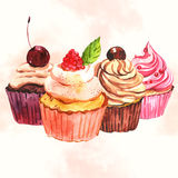 Watercolor seamless cupcake background Royalty Free Stock Images