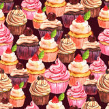 Watercolor seamless cupcake background Stock Images