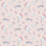 Watercolor seamless cute girlish pink pattern with balloons, stars, hearts and rainbow. Hand-drawn illustration royalty free illustration