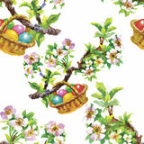 Watercolor seamless easter pattern with colorful eggs. Hand drawn illustration on white texture paper. Royalty Free Stock Photo