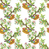 Watercolor seamless easter pattern with colorful eggs. Hand drawn illustration on white texture paper. Stock Images