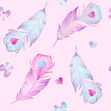 Watercolor seamless feather pattern with red and blue heart Royalty Free Stock Photography