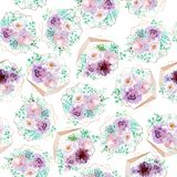 Watercolor seamless floral background in light purple and mint green colors. Seamless pattern can be used for scrapbooking, cards, wedding and so on Royalty Free Stock Photos