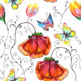 Watercolor seamless floral illustration Royalty Free Stock Photos