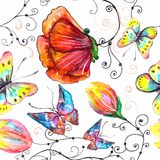 Watercolor seamless floral illustration Royalty Free Stock Image
