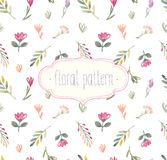 Watercolor Seamless Floral Pattern. Stock Image