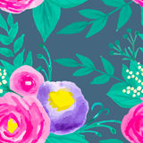 Watercolor seamless floral pattern Stock Images