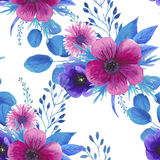 Watercolor seamless floral pattern Stock Photo