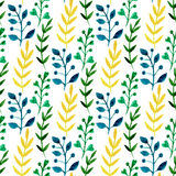 Watercolor seamless floral pattern with colorful leaves and branches. Hand paint vector spring or summer background. Can be used f Stock Photo