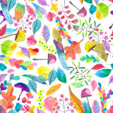 Watercolor seamless floral pattern vector illustration