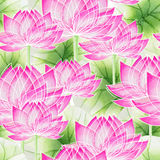 Watercolor Seamless floral pattern with lotus Stock Photos