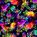 Watercolor Seamless flower red green rainbow doodle on violet background pattern. Hand drawn elements. Bright art for Royalty Free Stock Photo
