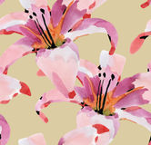 Watercolor seamless flowers Royalty Free Stock Images
