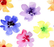 Watercolor seamless flowers pattern stock illustration