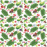 Watercolor seamless forest red green Stock Images