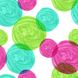 Watercolor seamless geometric pattern with colorful circles. Vec. Tor background Royalty Free Stock Image