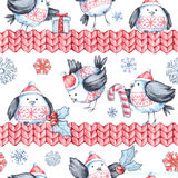 Watercolor seamless greeting pattern with cute flying birds and knitted borders. New Year. Celebration illustration vector illustration