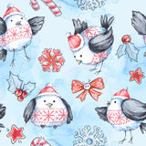 Watercolor seamless greeting pattern with cute flying birds. New Year. Celebration illustration. Merry Christmas. Royalty Free Stock Images