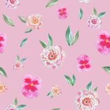 Trendy seamless floral pattern with watercolor flowers in vintage style. royalty free illustration