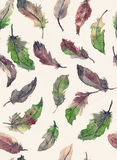 Watercolor seamless hand drawn pattern with feathers in green, p. Ink and brown colors. Watercolor background royalty free illustration