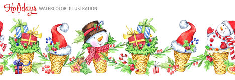 Watercolor seamless horizontal garland. Waffle cone with snowmans, Santa hats and gifts. Funny dessert. Cretive New Year. Christmas illustration. Can be use in royalty free illustration