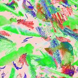 Watercolor seamless pattern. Watercolor seamless pattern with abstract stripes, dots and brushstrokes. Swimwear trendy print. Ethnic seamless pattern with Stock Photos