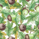 Watercolor Seamless pattern  with acorns Stock Photo