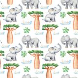 Watercolor seamless pattern with african trees and animals. royalty free illustration