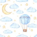Watercolor seamless pattern - Air balloon, moon and stars. Ideas. For a children`s room. Baby shower party elements. Perfect for prints, postcards, prints Stock Image
